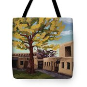 A Tree Grows In The Courtyard, Palace Of The Governors, Santa Fe, Nm Tote Bag