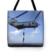 A Trio Of Marines Fast Rope Tote Bag