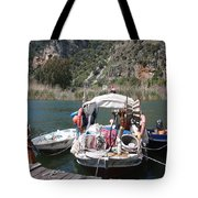 A Turkish Fishing Boat On The Dalyan River Tote Bag