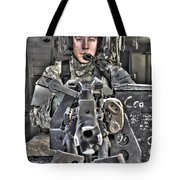 A Uh-60 Black Hawk Door Gunner Manning Tote Bag by Terry Moore