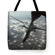 A U.s. Air Force Kc-10 Refuels A B-1b Tote Bag by Stocktrek Images