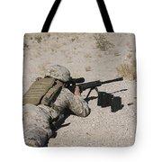 A U.s. Marine Zeros His M107 Sniper Tote Bag by Stocktrek Images