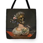 A Vanitas Bust Of A Lady With A Crown Of Flowers On A Ledge Tote Bag