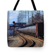 A Very Long Line Of Tanker Cars Tote Bag