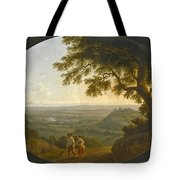 A View Across The Alban Hills With A Hilltop On The Right And The Sea In The Far Distance Tote Bag