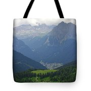a view from 2200 meter altitude in the dolomite mountains of Italy Tote Bag