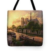 A View From Bridge Pont De L Archeveche, Archbishop Bridge, Infront Of Notre Dame De Paris Cathedr Tote Bag