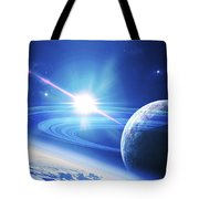 A View Of A Planet As It Looms In Close Tote Bag