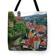 A View Of Cesky Krumlov And Castle In The Czech Republic Tote Bag