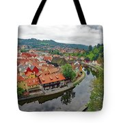 A View Of Cesky Krumlov And The Vltava River In The Czech Republic Tote Bag