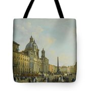 A View Of Piazza Navona With Elegantly Tote Bag