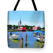 A View Of The Light Ship Tote Bag