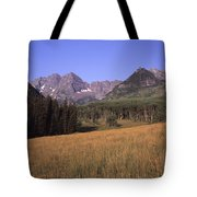 A View Of The Maroon Bells Mountains Tote Bag