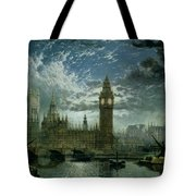 A View Of Westminster Abbey And The Houses Of Parliament Tote Bag by John MacVicar Anderson