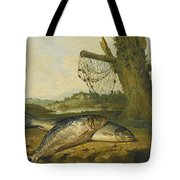 A View On The River Derwent At Belper Derbyshire With A Salmon And A Grayling On The Bank Tote Bag