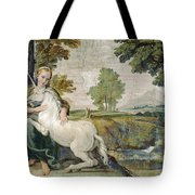 A Virgin With A Unicorn Tote Bag
