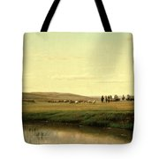 A Wagon Train On The Plains Tote Bag