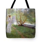 A Walk By The River Tote Bag