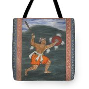 A Warrior Brandishing A Sword Tote Bag