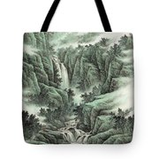 A Waterfall In The Mountains Tote Bag