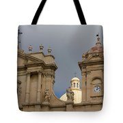 A Well Placed Ray Of Sunshine - Noto Cathedral Saint Nicholas Of Myra Against A Cloudy Sky Tote Bag