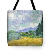 A Wheat Field, With Cypresses Tote Bag