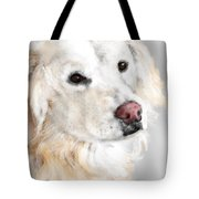 A White Golden Retriever Tote Bag