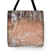 A White-tailed Deer In A Snow Storm Tote Bag