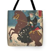 A Woman On Horseback In The Snow Tote Bag