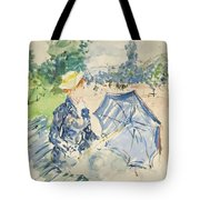 A Woman Seated At A Bench On The Avenue Du Bois Tote Bag