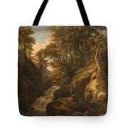 A Wooded Landscape With A Waterfall And A Fisherman Walking Along A Path Tote Bag