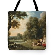 A Wooded Landscape With Venus Adonis And Cupid Tote Bag