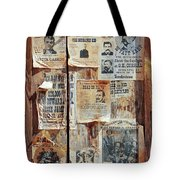A Wooden Frame Full Of Wanted Posters Tote Bag