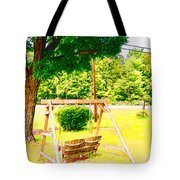 A Wooden Swing Under The Tree Tote Bag