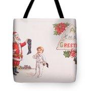 A Xmas Greetings With Santa And Child Vintage Card Tote Bag