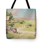 A Young Girl In Summer Landscape Tote Bag
