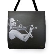 A Young Lady Playing A Violin Tote Bag