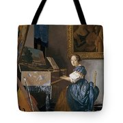 A Young Lady Seated At A Virginal Tote Bag