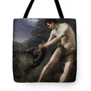 A Young Man Fighting A Goat Tote Bag