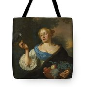 A Young Woman With A Parrot, Ary De Vois, 1660 - 1680 Tote Bag