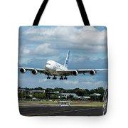 A380 Airbus Plane Landing Tote Bag
