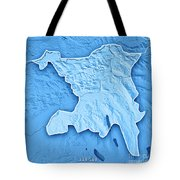 Aargau Canton Switzerland 3d Render Topographic Map Blue Border Tote Bag