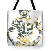 Aaron Rodgers Green Bay Packers Pixel Art 20 Tote Bag