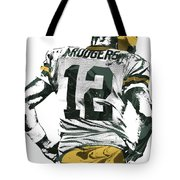 Aaron Rodgers Green Bay Packers Pixel Art 6 Tote Bag