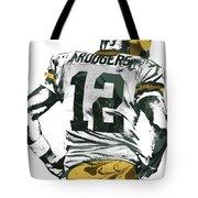 Aaron Rodgers Green Bay Packers Pixel Art 6 Tote Bag