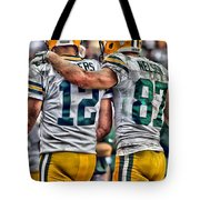 Aaron Rodgers Jordy Nelson Green Bay Packers Art Tote Bag