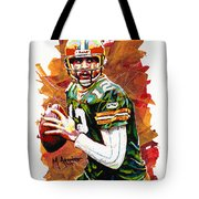 Aaron Rodgers Tote Bag by Maria Arango
