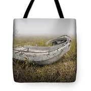 Abandoned Boat In The Grass On A Foggy Morning Tote Bag