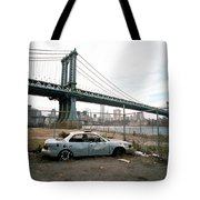 Abandoned Car And Manhattan Bridege Tote Bag