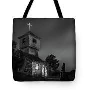 Abandoned Church At Night. Mysterious Nun Tote Bag